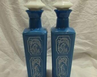 Jim Beam Whiskey Bottles, Set of Two, Vintage 1965, Blue and White Milk Glass