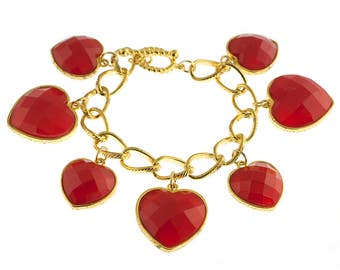 Gold Plated Heart Charm Bracelet