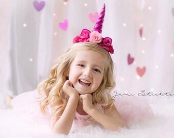 Hot Pink and Pink Unicorn Headband, Princess Headband, Birthday Headband, Birthday Crown, Girls Headband