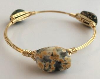 Green Ocean Jasper Wire Wrapped Bangle, Wire Wrapped Bracelet, Gemstone Wire Bangle, Wire Bangle