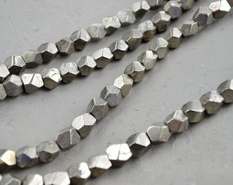 Faceted Natural Pyrite Beads  Fools Gold Spacer Beads Pyrite Mineral Sample Beads Wholesale 0142