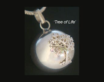 Chiming Tree of Life Necklace with a 925 Sterling Silver Tree of Life set on a 925 Sterling Silver Chiming Harmony Ball TOLHBP002