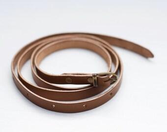 Skinny leather belt // Extra long skinny veg tanned leather belt for women