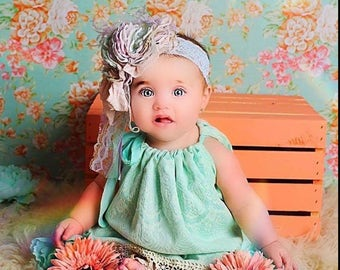 Pillowcase style dress,upcycled dress,teal dress,baby dress,
