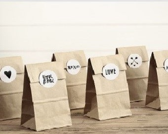Treat/Sweet/Favour Bags set of 6 with stickers - SALE