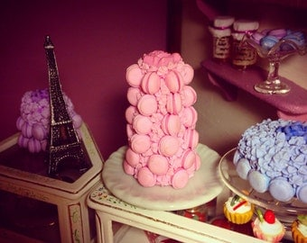 MINIATURE MACAROON CAKE, 1:12 scale, one of a kind, twisted, handmade, pink macaroon cake.