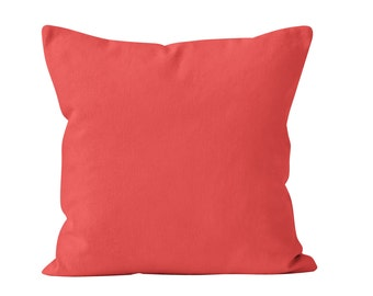 Solid Coral Pillow Cover, Coral Pillow Covers, Coral Cushion Covers, Coral Pillows Covers, Coral Throw Pillow Cover, Salmon Pillow Cover