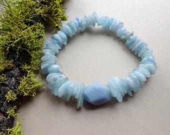 Aquamarine Angelite rock stretch Bracelet