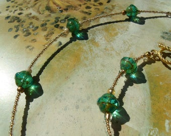 Crystal beads bracelet Necklace Aqua Green Pearl set Picasso