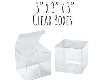 "25 Pack of 3 x 3 x 3"" Clear Boxes, Wedding Favor Boxes, Gift Box, See Through Cupcake Box/Candy Box- Clear Acrylic Plastic Box, 3x3x3 Box"