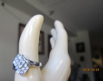 Stunning Handcrafted Genuine H-SI .06ctw Diamond Solid Sterling Silver Cocktail Ring Size 7.5, Weight 4 Grams