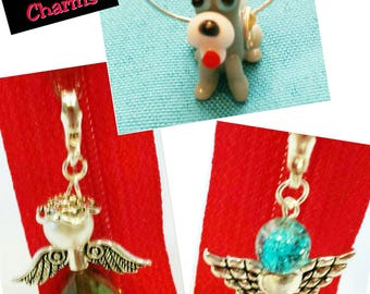 Custom made in your favorite colors, these can be used for many different purposes. Badge Angel and glass animal bead charms with clasp.