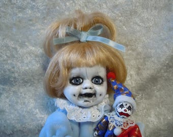 Creepy Baby Doll and Her Little Sad Clown #1 Dark Art   Horror Collectible Day of the Dollies