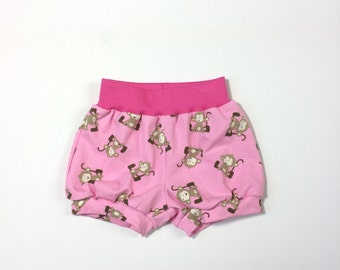 Baby bubble shorts pants. Comfy pink bubble infant pants with monkeys and comfortable pink waistband. Pink cotton fabric with monkeys