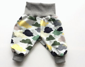 Clouds baby pants. Baggy harem pants. Gray jersey knit fabric with clouds in gray, taupe, green, yellow. Infant pants. Gender neutral