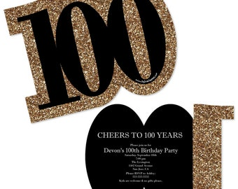100th Birthday Invitations - Adult 100th Birthday - Gold Personalized Birthday Party Age-Shaped Invites - Set of 12