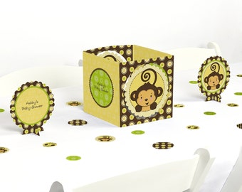 Monkey Neutral Centerpiece & Table Decoration Kit - Baby Shower and Birthday Party Decorations - 39 Piece Set