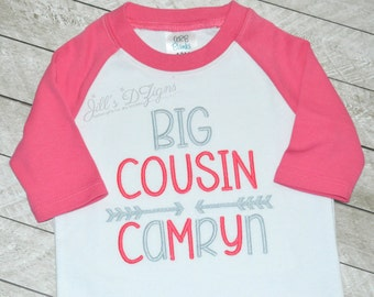 Big Cousin Sister Name Personalized Monogramed Little or Big Sister/Brother/Cousin Name Shirt Any Colors Available Pregnancy Announcement.
