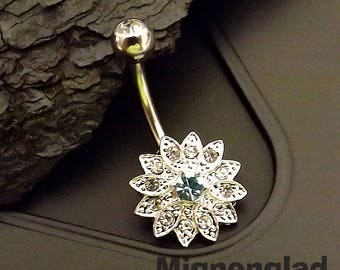 """14g 3/8"""" (10mm) / Petite Crystal Paved Flower with Crystal Center 316L Surgical Steel Belly Button Rings"""