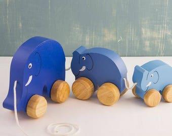 Wooden Pull-Along Elephant Family