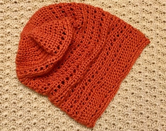 Hand-crocheted, slouchy beanie hat