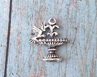 8 Bird fountain charms (2 sided) antique silver tone - silver bird fountain pendants, birdbath charms, nature charms, gardening charms, SS3