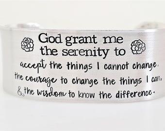 Serenity Prayer Bracelet - Serenity Prayer Cuff - Serenity Prayer Jewelry - Serenity Prayer