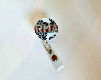 Registered Medical Assisted, RMA Badge, Retractable Badge Reel, Badge Reel, Badge Bling, Gift- BottleCapsGalorNMor
