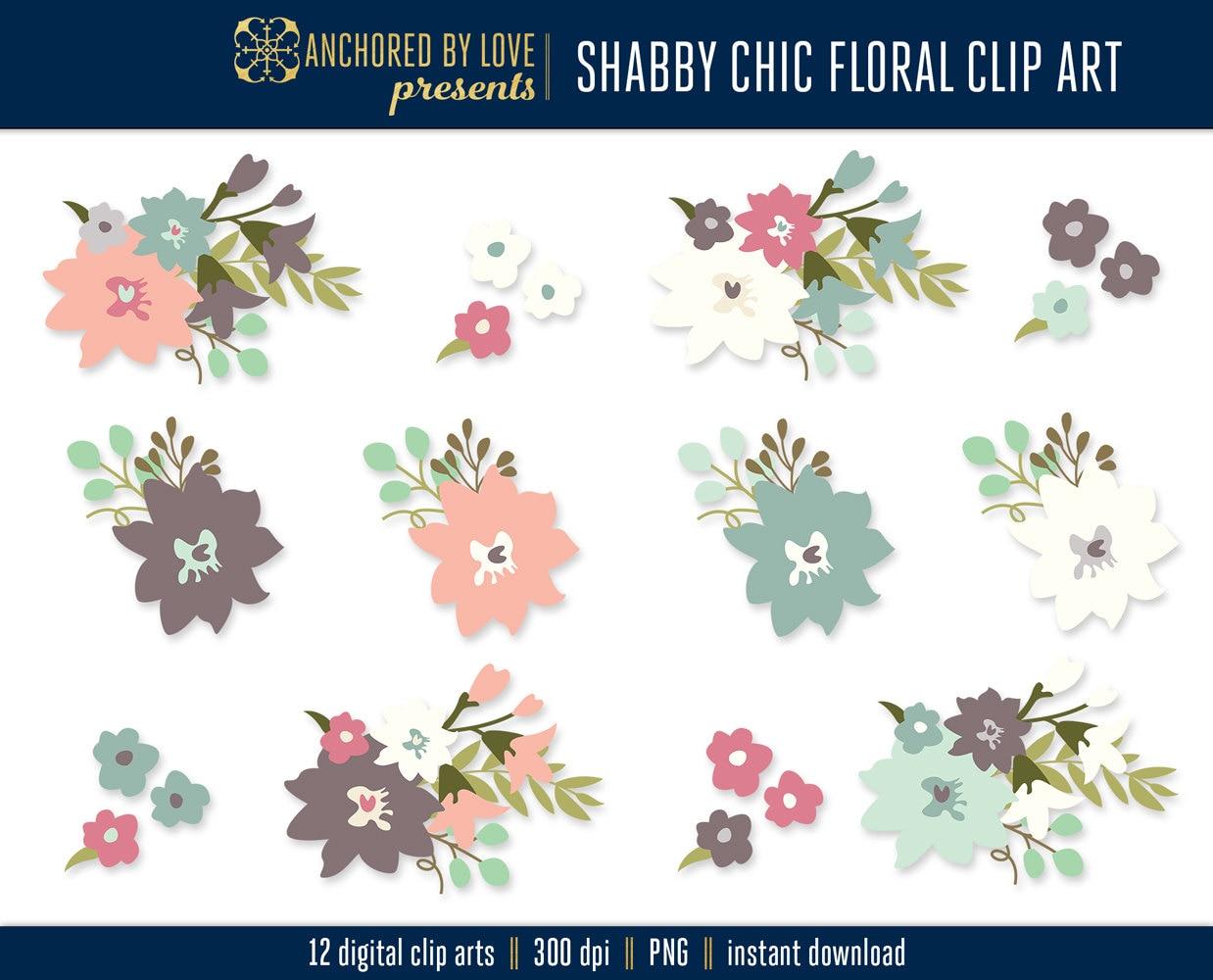 Shabby Chic Clipart Garden Flowers Clip Art Spring Clipart