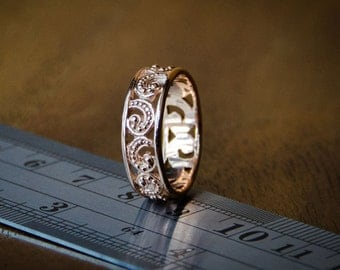 Ombak Segara Rose Gold Small Band Ring / 925 Sterling SIlver / Rose Gold Plated / Fine Quality
