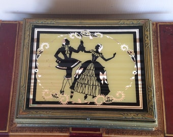 Vintage Silhouette Jewelry Box - Make-up Box with Classical Figures - Mirrored Interior