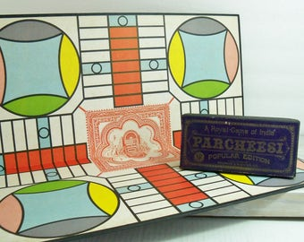 Vintage 1938 Parcheesi Board and Game Pieces, Selchow & Righter Popular Edition