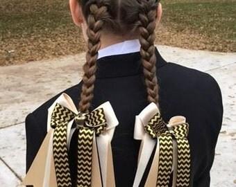 Equestrian Hair Bows/Gold & Black Equestrian Clothing