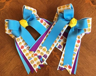 Equestrian Hair Bows/emoji hair accessory/gift