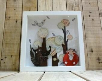 "Original Illustration Diorama Shadow Box Red Riding Hood "" Friendship"""