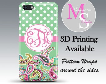 Monogram iPhone Case Personalized Phone Case Green Vera Paisley Monogrammed Iphone 4, 4S, iPhone 5, 5S, 5C, 5SE iPhone 6, 7 Plus #2691