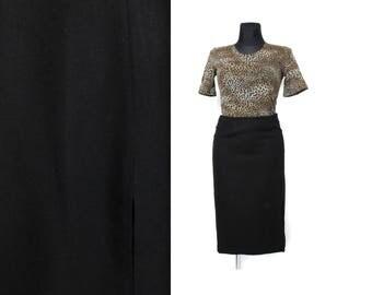 Black wool skirt, Midi skirt, High waisted skirt, Black skirt, Knee length skirt, Vintage skirt, High waist skirt, Pencil skirt / Medium