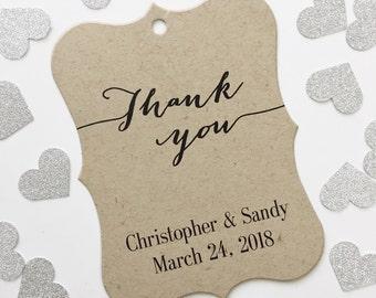 Thank You Wedding Tags, Kraft Customized Wedding Tags, Custom Wedding Favor Tags (EC-009-KR)