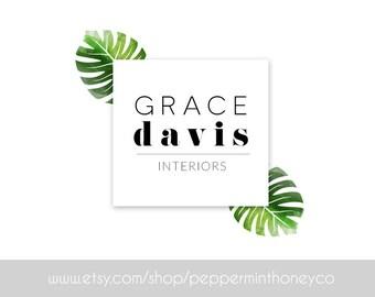 Grace Davis, Natural, NATURE, Green, MONSTERA, LOGO, Pre-made logo, premade logo, watermark, design, Photographer, Blog Header, Modern,