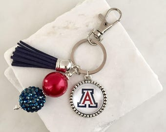 University of Arizona Key Chain, Arizona Wildcats Key Chain, Blue and Red, Graduation Gifts, Alumni Gifts, Arizona Gifts