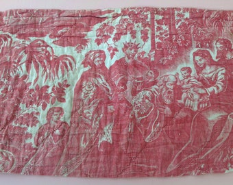 Antique vintage French toile quilt piece for projects crafts, framing, patchwork cushion