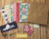 scrapbooking paper kit, SHIMILLE, shine bright , mini scrapbook paper kit, paper bag albums kit w/embellishments, paper, diy
