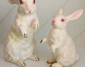 Lefton Rabbits,Porceline Ceramic Bunnies by Lefton