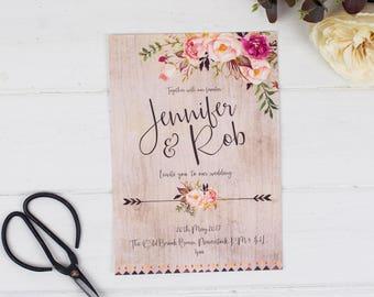Wedding Invitation - Boho Floral - Wedding Stationery - Printed or DIY Printable Download - Personalised - Boho Wedding - Rustic Wedding
