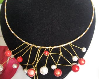 necklace made of aluminum wire and beads + earring