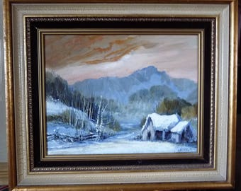 "Burning Evening Sky, Rugged Sunset Valley, Nightfall Over Hills, Wildlife and Landscape Listed Artist, Glenn Dalley ""Golden Valley""  1986"