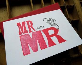 Letterpress Wedding card - Mr and Mr - gay marriage