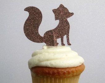 12 Fox Cupcake Toppers Brown Glitter Fox Cupcake Toppers Woodlands Cupcake Toppers Woodlands Shower Woodlands Birthday Fox Birthday Decor