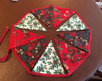 Hand made floral Christmas Bunting