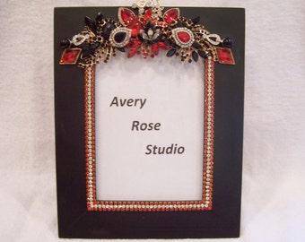 5x7 Jeweled Black Photo Frame. Holiday, Birthday, Anniversary, Wedding, Shower, Graduation Gift.
